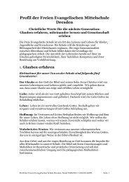 Profil der Freien Evangelischen Mittelschule Dresden - FES Dresden