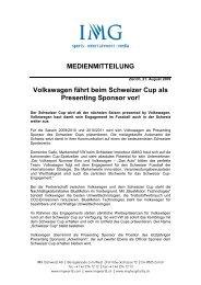 Volkswagen fährt beim Schweizer Cup als ... - IMG (Schweiz)