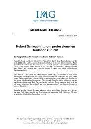 Hubert Schwab tritt vom professionellen Radsport ... - IMG (Schweiz)