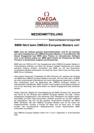 BMW fährt beim OMEGA European Masters vor! - IMG (Schweiz)