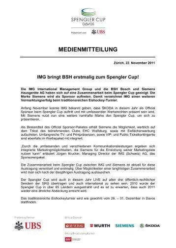 IMG bringt BSH erstmalig zum Spengler Cup! - IMG (Schweiz)