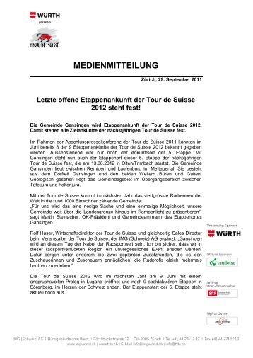 Letzte offene Etappenankunft der Tour de Suisse 2012 steht fest! - IMG