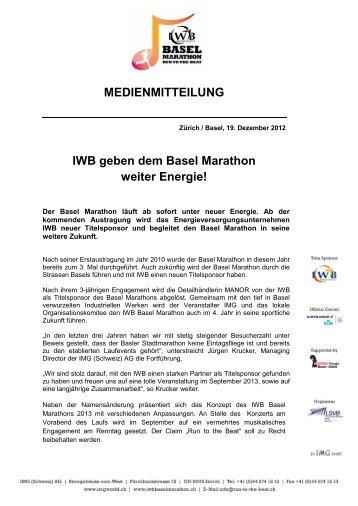 IWB geben dem Basel Marathon weiter Energie! - IMG (Schweiz)