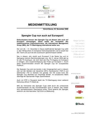 Spengler Cup nun auch auf Eurosport! - IMG (Schweiz)