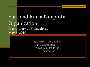 Start and Run a Nonprofit Organization - Free Library of Philadelphia
