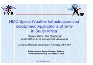 HMO Space Weather Infrastructure and Ionospheric Applications of