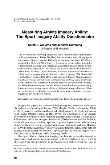 Measuring Athlete Imagery Ability: The Sport ... - ResearchGate