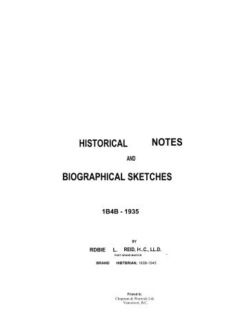 historical notes biographical sketches - Grand Lodge of British ...