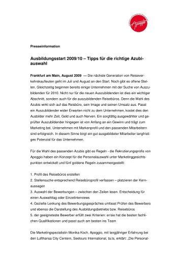 ausbildungsstart 200910 tipps fr die richtige azubi apoggio - Richtige Bewerbung