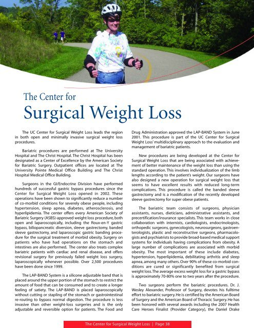 Center For Surgical Weight Loss Surgery University Of Cincinnati