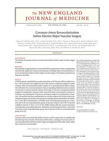 Coronary revasc (McFalls NEJM 2004).pdf - Surgery
