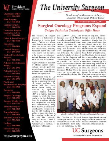 Surgical Oncology Programs Expand - Surgery - University of ...