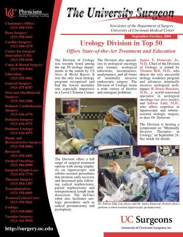 Urology Division in Top 50 - Surgery - University of Cincinnati