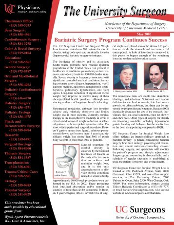 Bariatric Surgery Program Continues Success - Surgery - University ...