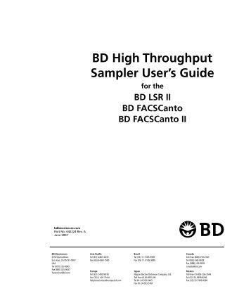Bd biosciences facscanto ii flow cytometer features fluidics.