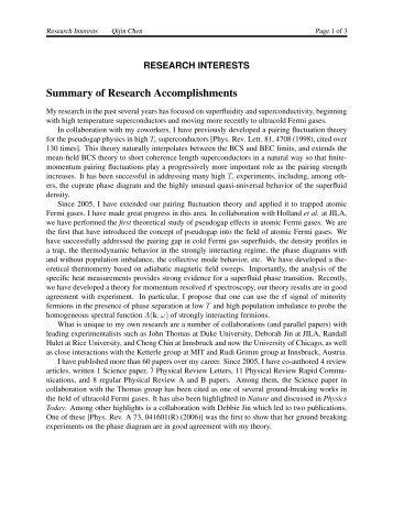 Summary Of Research Accomplishments  Summary Of Accomplishments