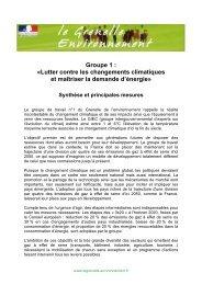 Groupe 1 : «Lutter contre les changements climatiques et maîtriser ...