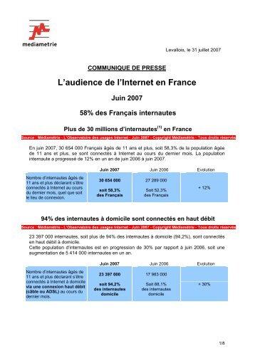 L'audience de l'Internet en France Juin 2007 58% des Français ...