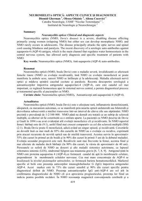 419 NEUROMIELITA OPTICĂ: ASPECTE CLINICE ùI ...