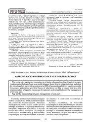 ASPECTE SOCIO-EPIDEMIOLOGICE ALE DURERII CRONICE