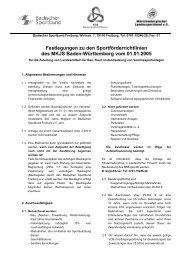 Festlegungen zu den Sportförderrichtlinien des MKJS Baden ... - SBFV