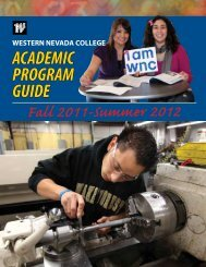 2011-2012: Academic Program Guide - Western Nevada College