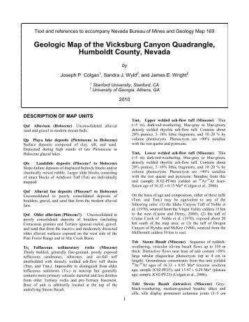 GEOLOGIC MAP OF THE VICKSBURG CANYON QUADRANGLE ...