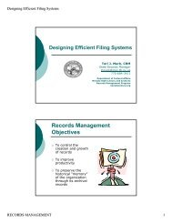 Records Management Objectives - Nevada State Library and Archives