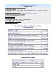 Statistics for Fiscal Year 1999 - Nevada State Library and Archives