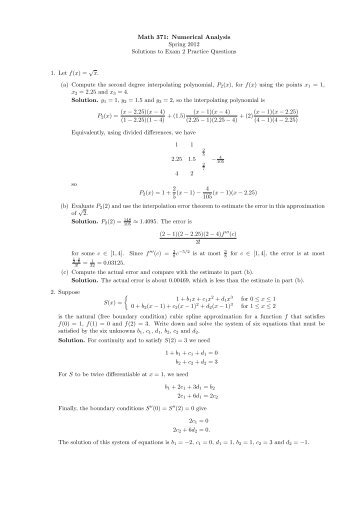 Solutions to Exam 2 Practice Questions