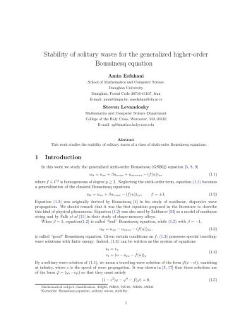 Stability of solitary waves for the generalized higher-order ...