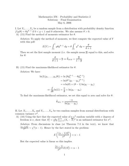 Final Exam solutions - Mathematics and Computer Science