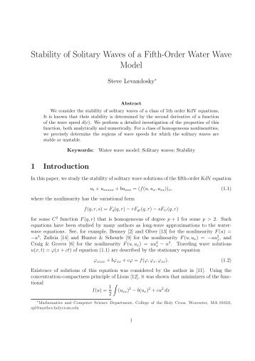 Stability of Solitary Waves of a Fifth-Order Water Wave Model