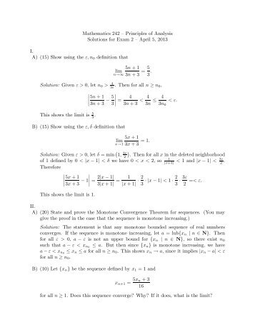 Mathematics 242 – Principles of Analysis Solutions for Exam 2 ...