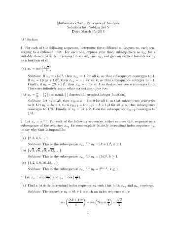 Mathematics 242 – Principles of Analysis Solutions for Problem Set ...