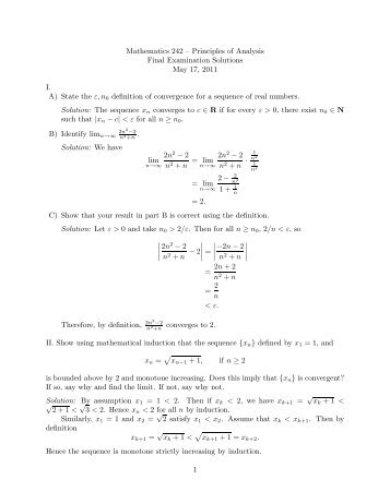 Solutions for Final Exam - Mathematics and Computer Science