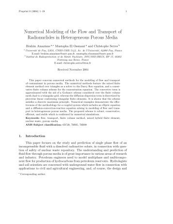 Numerical Modeling of the Flow and Transport of Radionuclides in ...