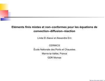 Eléments finis mixtes et non–conformes pour les équations de ...