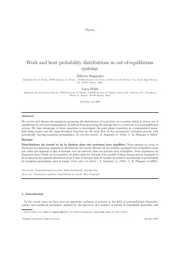 Work and heat probability distributions in out-of ... - INFN Napoli