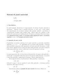 Complementi sulla teoria dei sistemi di punti materiali