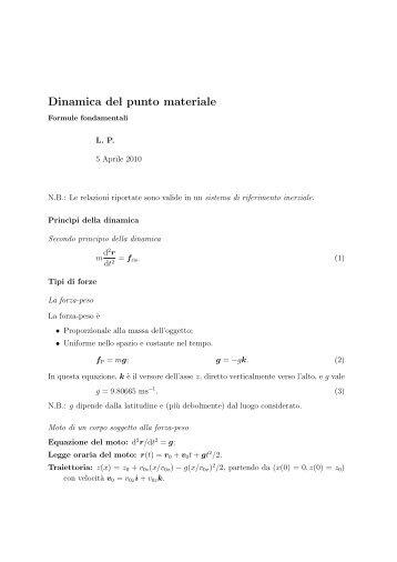 Formule fondamentali nella dinamica del punto materiale