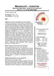 MEDIENLISTE – JUDENTUM - Sende-Zeit