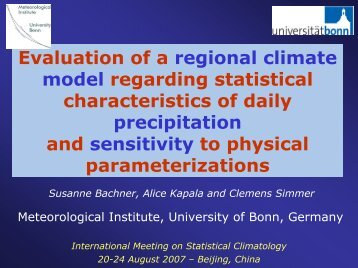 Evaluation of precipitation statistics in the CLM and sensitivity to ...