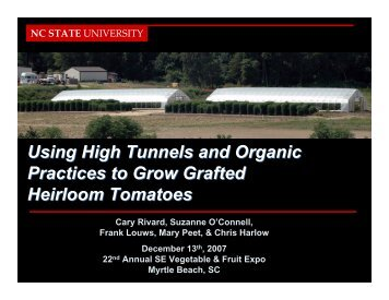 Using High Tunnels and Organic Practices to Grow Grafted ...