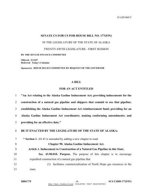 AGIA Statute - Alaska Gas Pipeline Project Office - State of Alaska