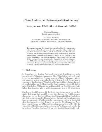 Analyse von UML Aktivitäten mit DMM - Universität Paderborn