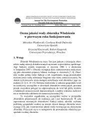 Ocena jakości wody zbiornika Włodzienin w pierwszym roku ...