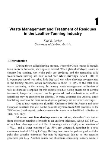 Waste Management and Treatment of Residues in the Leather ...