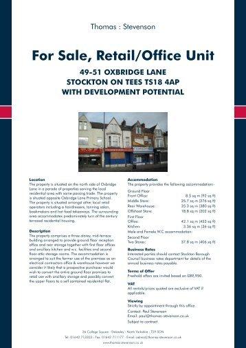 For Sale, Retail/Office Unit - Thomas : Stevenson