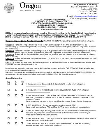 2012 Compounding Pharmacy Inspection Form - State of Oregon